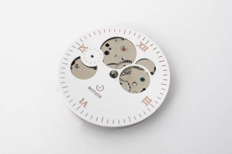 Rotate Watches Taupe & Rose Skeleton Dial