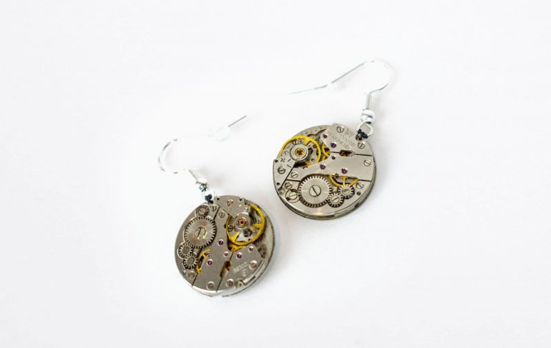 mechanical movement earrings rotate watches