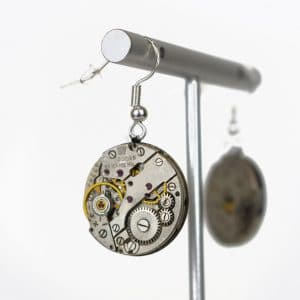vintage mechanical movement earrings rotate watches